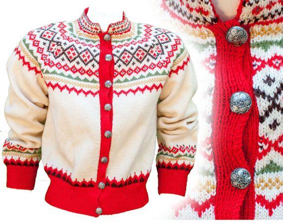 1950s Medium Wool Cardigan Red White Diamond Geometric Sweater
