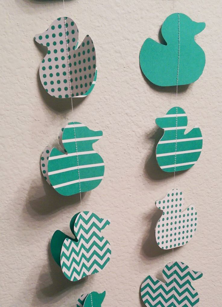 Paper Garland Green Baby Shower Duck Theme Paper, Streamers