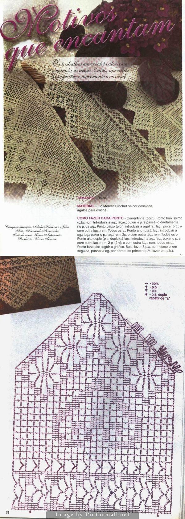Filet crochet lace edging with interlaced diamond on straight edge, heart & spider points ~~ http://crocheartemanuais.blogspot.com/2013/12/barradinhos_7447.html