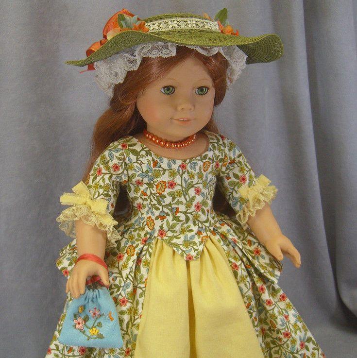 ~ FALL FANCY ~ Green Colonial Dress & Hat 7 pc SET ~ Felicity American Girl doll #IDreamofJeanneMarie