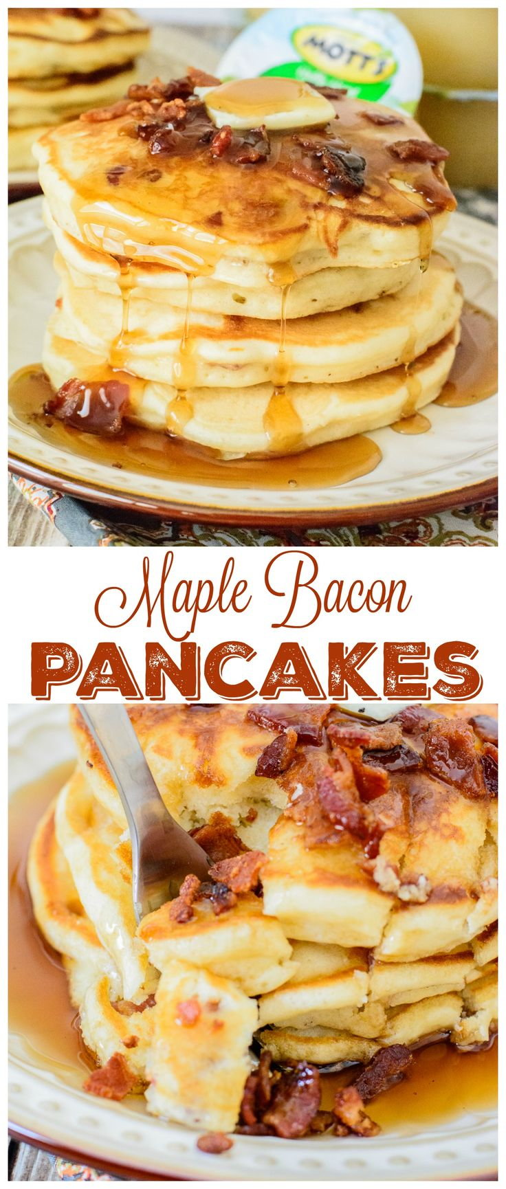 Maple Bacon Pancakes. Light and fluffy pancakes with pure maple syrup and crispy bacon. This pancake recipe is the king of all pancake recipes. You will love every bite!