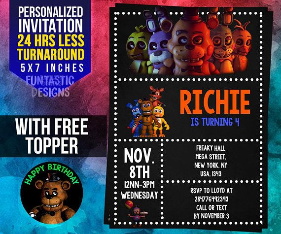 Five Nights At Freddys Party Supplies Invitation FNAF Topper Diy