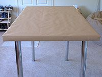 Megan At Not Martha Offers Some Great Advice On Creating A Sewing Shop Table,  Covered In Cork And Brown Paper. She Used An Ikea Table Top With Adjustable  ...