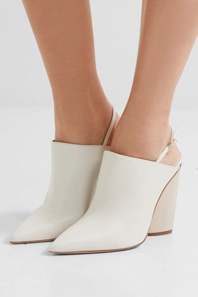 Heel measures approximately 110mm/ 4.5 inches Off-white leather Buckle-fastening slingback strap Designer color: Milk Made in Italy
