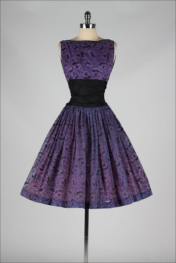 vintage 1950s dress . purple chiffon . by millstreetvintage