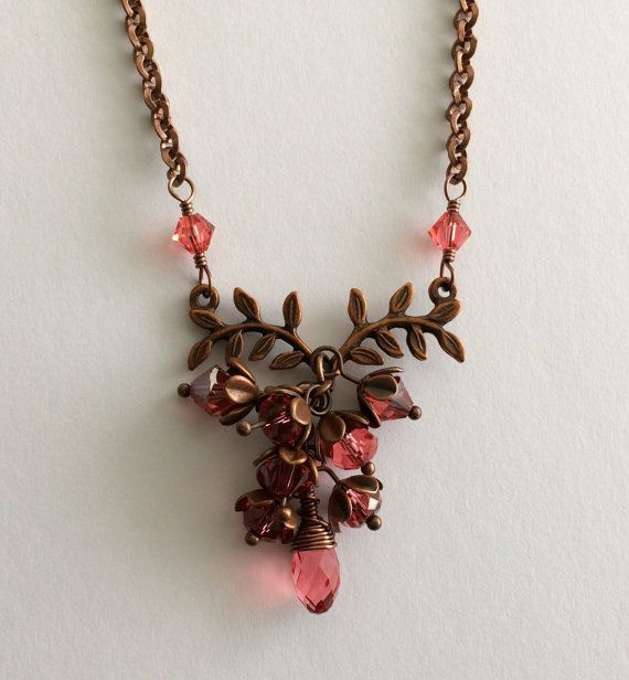 Antique Copper Pink Salmon Swarovski Crystal by JulianaJewelry