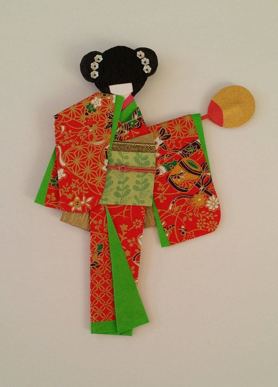 Origami Washi Ningyo (traditional Japanese Kimono paper doll)
