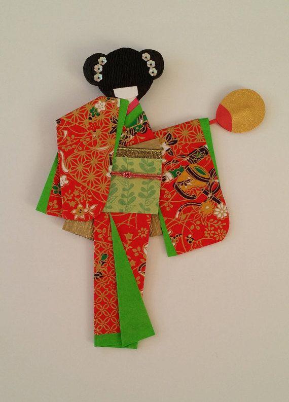 Origami Washi Ningyo (traditional Japanese Kimono paper doll)