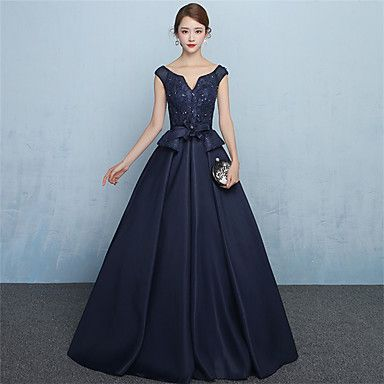 Formal Evening Dress - Lace-up A-line V-neck Floor-length Jersey with Sash / Ribbon – CAD $ 138.99