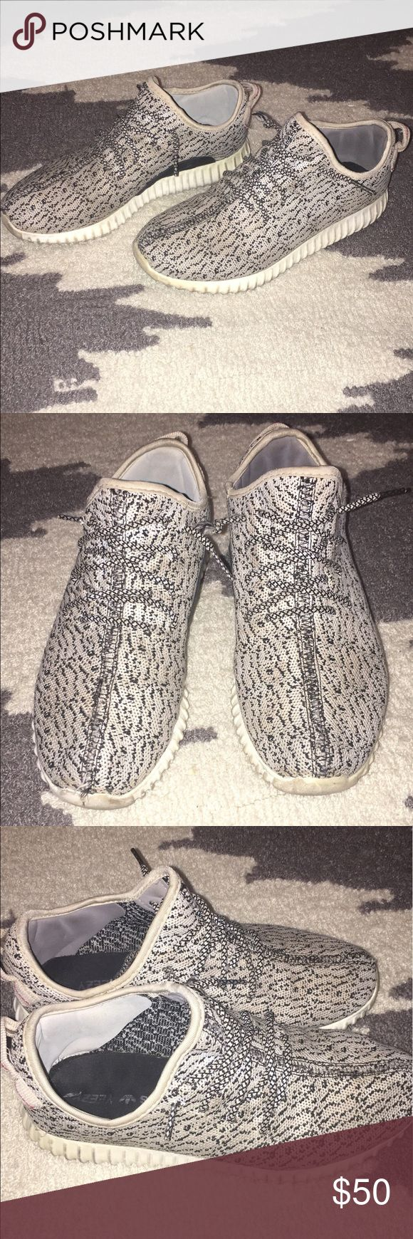 ADIDAS YEEZY BOOST Price reflects Authenticity!!! I was told they were real, but im pretty sure they aren't. Paid $250, asking $50. I will ship next day. Minimal wear, one of the insoles is loose inside, and one of the shoe laces is fringing a little. I always get compliments on them and are always asked if they're real because people think they are. Any questions? Let me know! Adidas Shoes Sneakers