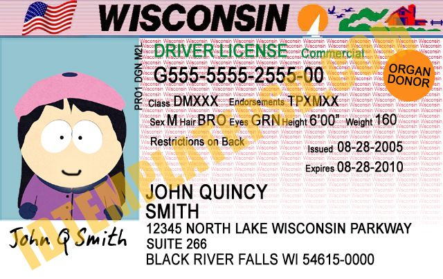 This is wisconsin usa state drivers license psd for Wisconsin drivers license template
