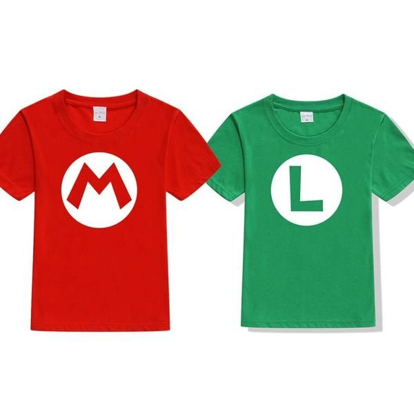 104392cde 2pcs/lot Super Mario Bros. Kids Cosplay T Shirts Luigi/Wario/Princess Peach/ Waluigi/Mario Boys Girls Summer Clothes T-shirt Tops