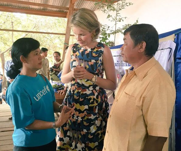 On the last day of her visit to Laos, Queen Mathilde of Belgium visited the Vat Phou temple (meaning: mountain temple) south of Pakse, which is in the Unesco World Heritage List on February 23, 2017. Queen Mathilde, honorary President of Unicef Belgium, is on a four days mission in Laos.