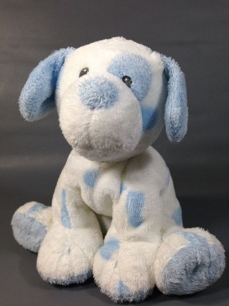 ty pluffies pluffy white blue baby pups plush stuffed tylux boy puppy dog 9 ty weekly. Black Bedroom Furniture Sets. Home Design Ideas