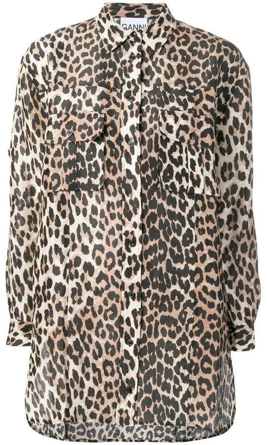 bab530aaef7b04 Ganni leopard print shirt in 2019 | Products | Printed shirts, Shirts
