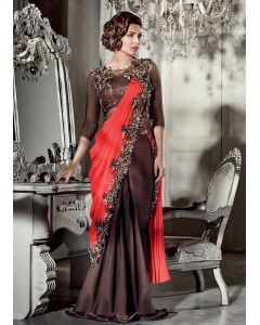 Satin Georgette Saree Style Gown