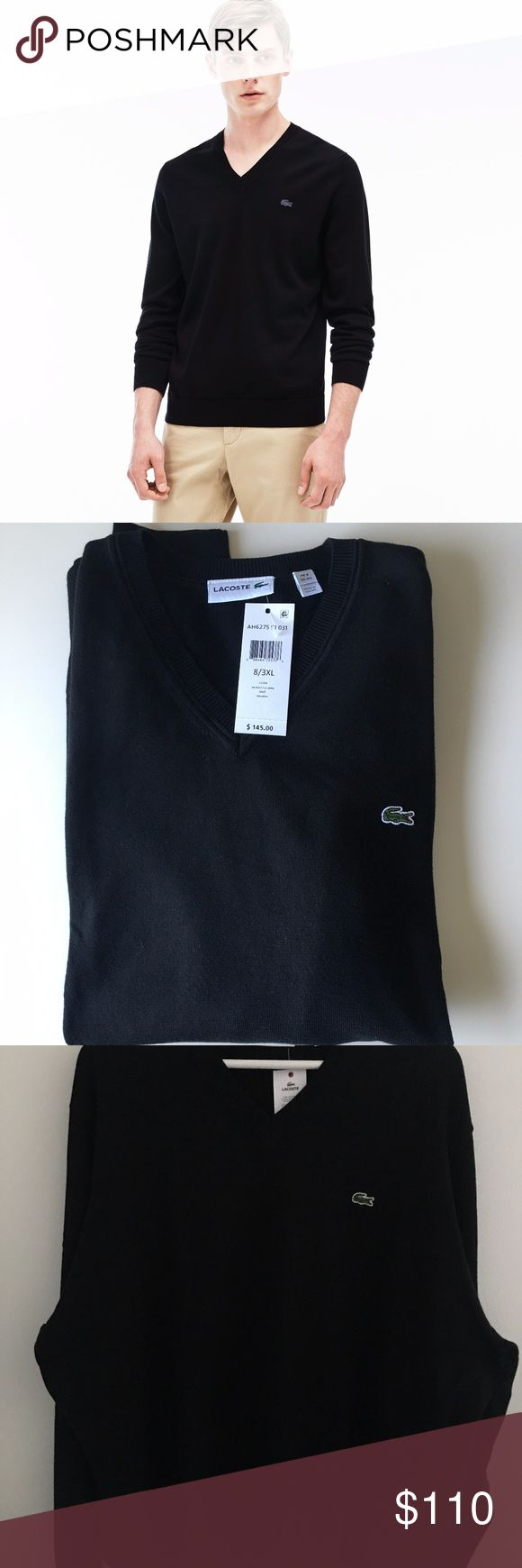 Lacoste Men's Cotton Jersey V-Neck Sweater, Black Lacoste Men's Cotton Jersey V-Neck Sweater, Black AH6275 51  Very comfortable and very stylish. Size: 3XL (8) Colors: Black  Effortless style is yours with this classic sweater.  Crafted in feel-good cotton and shaped with a V-neck, it looks great layered over a tee or collared shirt. V-neck sweater featuring embroidered crocodile logo at left chest Ribbed-knit trim at hem, cuffs, and neck Manufacturer: Lacoste Mens Apparel Model: AH6275 51…