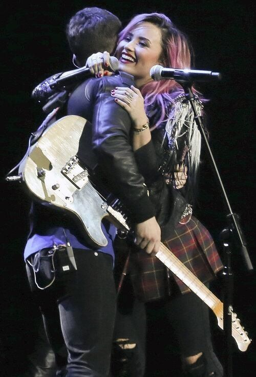 Demi and Nick Jonas in Vancouver Feb. 9, 2014 #NeonLightsTour