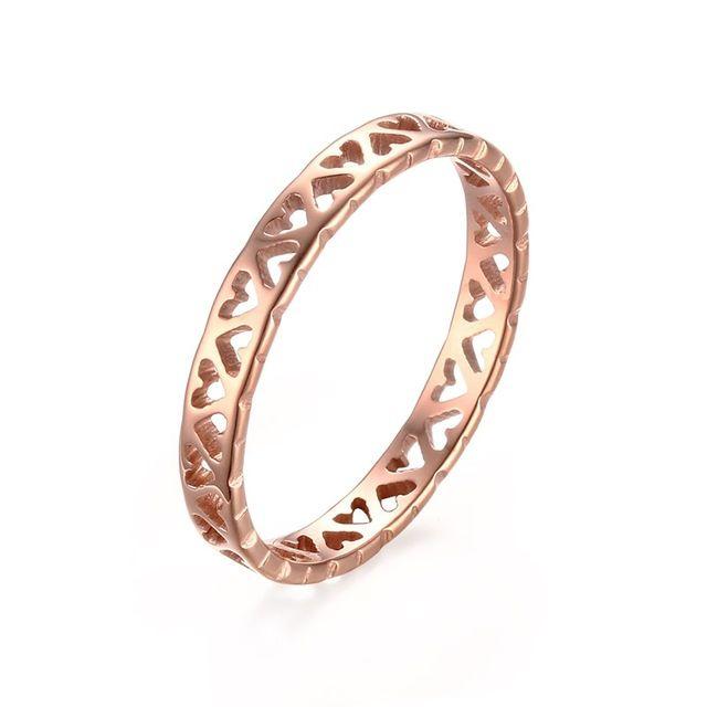 Jóias Das Mulheres 3 MM Minúsculo Coração Oco Anéis de Noivado Casamento Charme senhora Gril Banda de Aço de Titânio Anel de Ouro Rosa Tamanho EUA 4-8