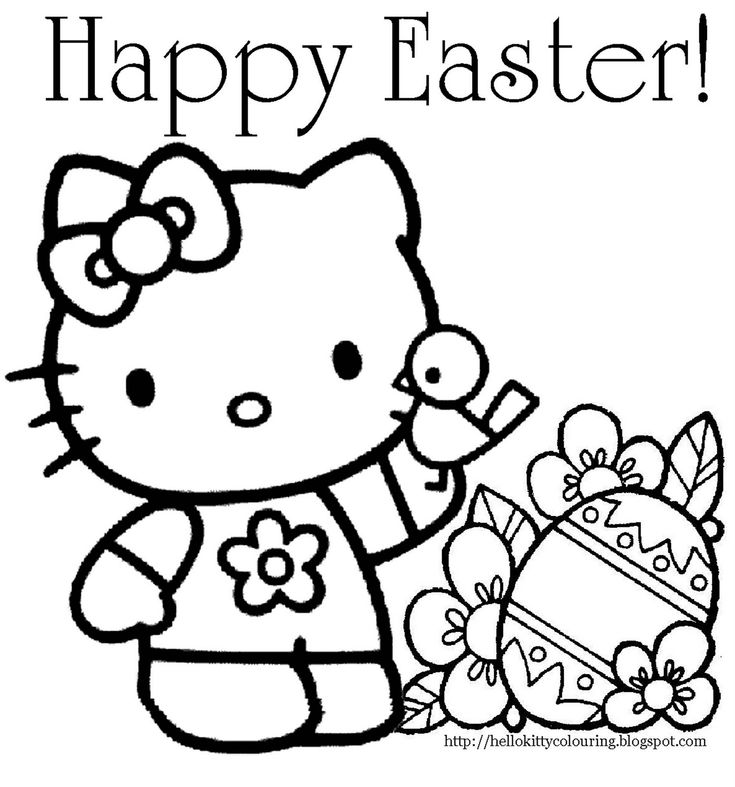 easter colouring page of hello kitty with happy easter text