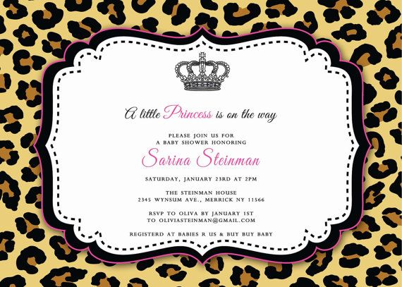 Cheetah Baby Shower Invitation  by Asapinvites on Etsy, $15.00