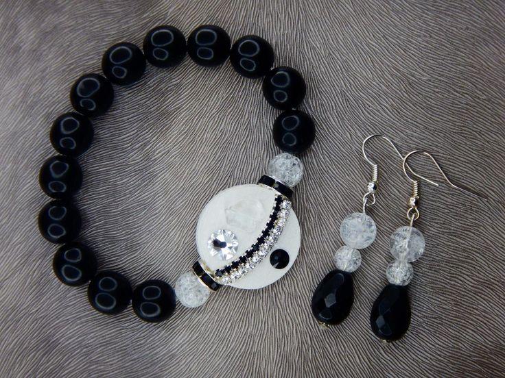 Bracelet and earrings, Swarovski, minerals, black and white style, luxury#bracelet#earring#swarovski#crystal#leather fabric#pink#white#mineral#rondel#wedding#black