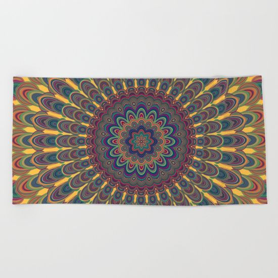 Bohemian oval mandala Beach Towel