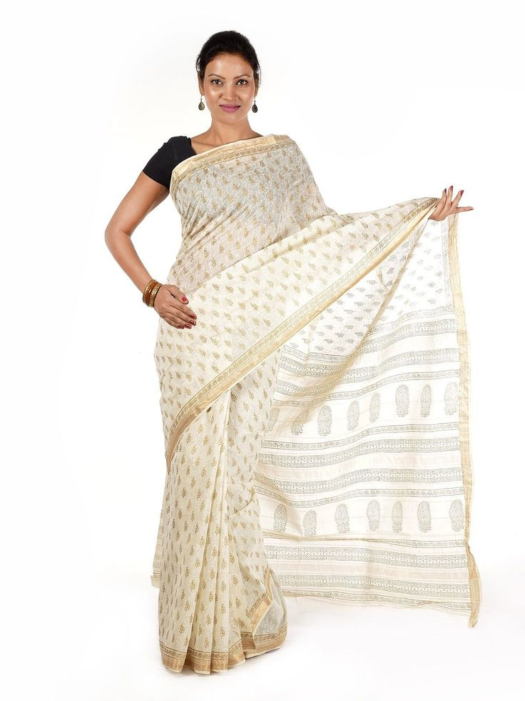 Powder white Bagru Maheshwari Saree