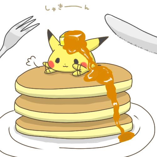 Pikachu on a stack of pancakes with a pat of butter and syrup on his head. Hmmm...why? Anyway, it's cute!
