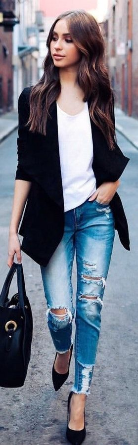 #winter #outfits  black suit jacket, white scoop-neck shirt, blue distress jeans, and black leather shoulder bag outfit