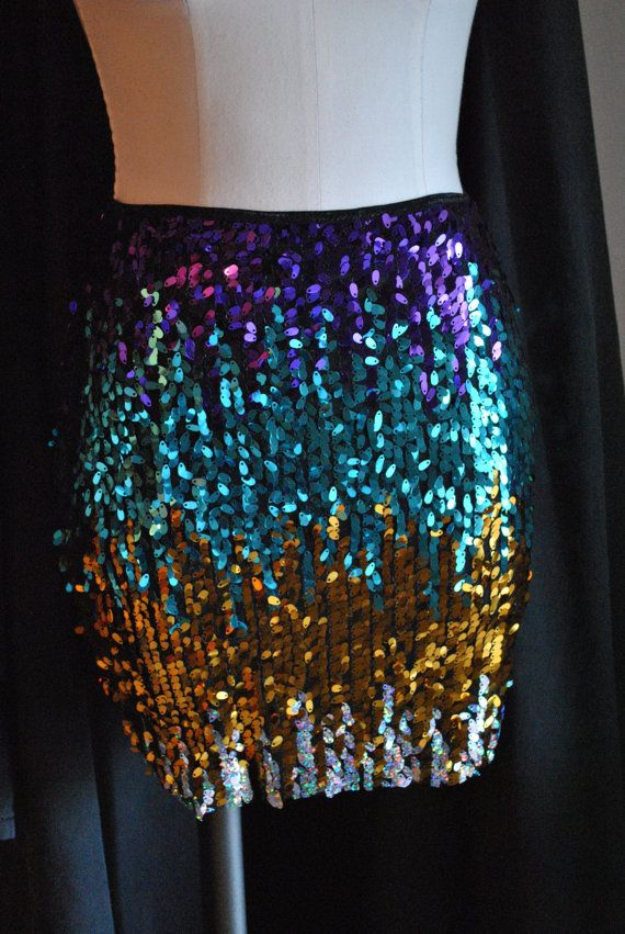 Last One! M/L Mardi Gras colors Skirt- Purple/Teal/Gold.. Stretchy Sequin Party Cocktail Skirt, last one