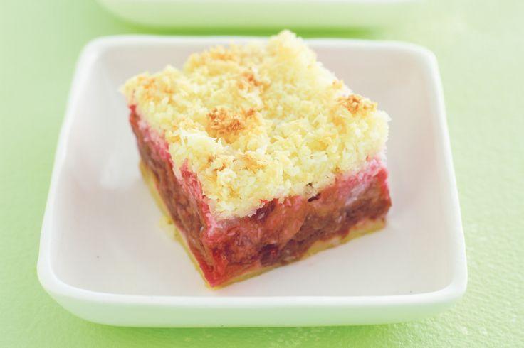 Rhubarb and coconut slice