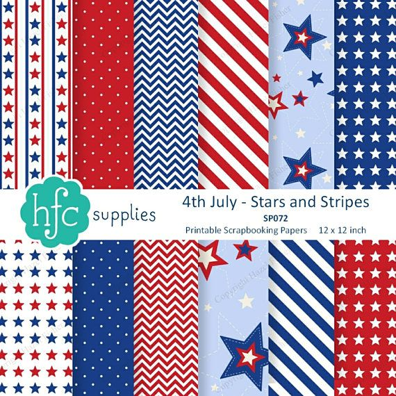 4th of July Stars and Stripes Digital Scrapbooking Papers - USA, patriotic red, white and blue patterns.  Printable paper set by hfcSupplies on Etsy. Set of 12 digital papers, 12x 12 inch designs.