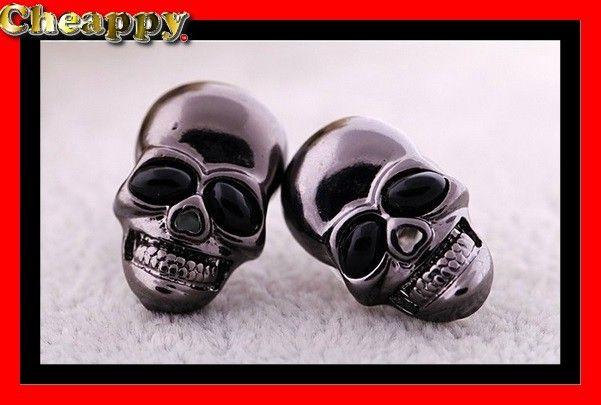 Mooie Skull / Schedel oorbellen zwart - Cheappy