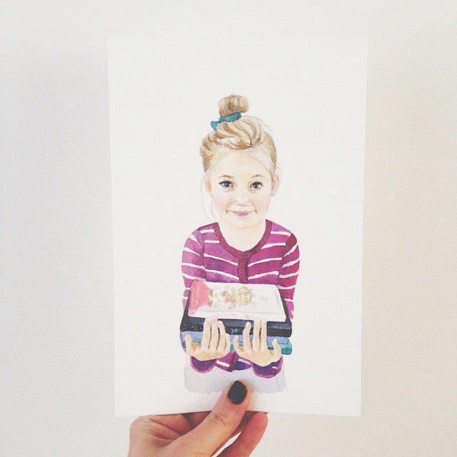 #watercolor portrait of girl