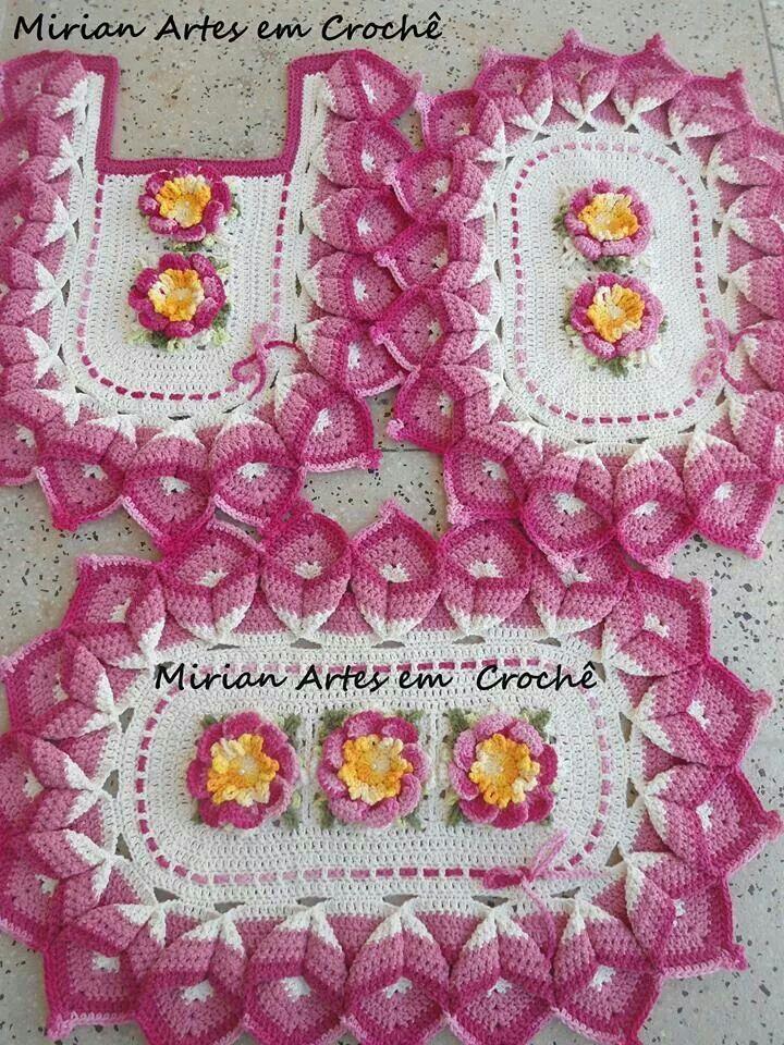 Jogo de banheiro em crochê  - Mirian Artes