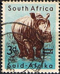 South Africa 1959 Wild Animals SG 172 Rhinoceros    Fine Used    SG 172 Scott 223    Condition  Fine Used    Only one post charge applied on