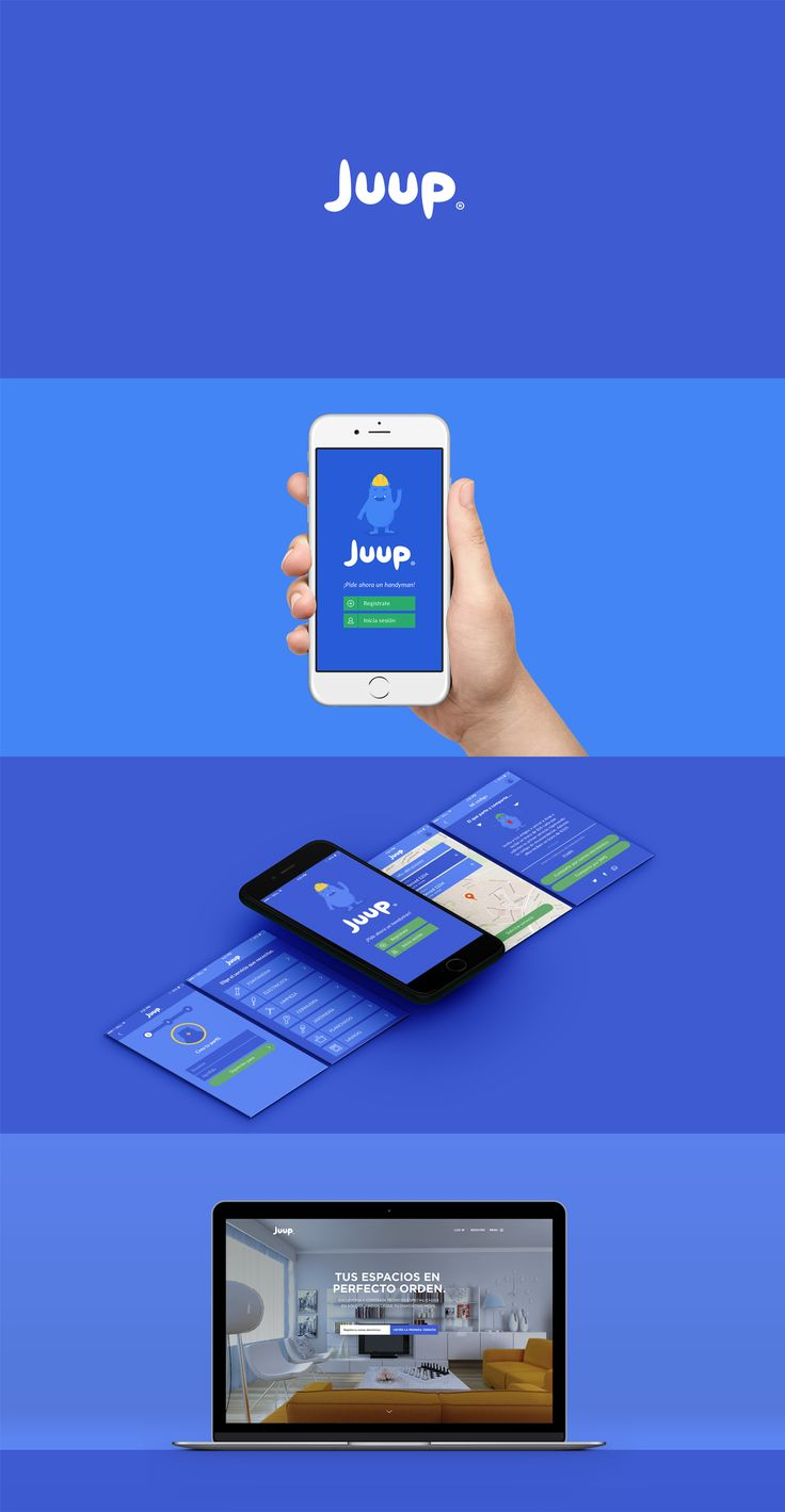 Diseño de UI para la App de JUUP, creada para la contratación de servicios para el hogar desde dispositivos móviles