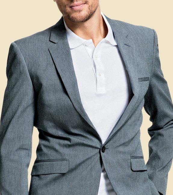 """A pique polo is the perfect way to make a suit look less corporate. Wear it untucked, as long as the tail doesn't extend more than a few inches below your belt loops.""  #men #business #fashion"