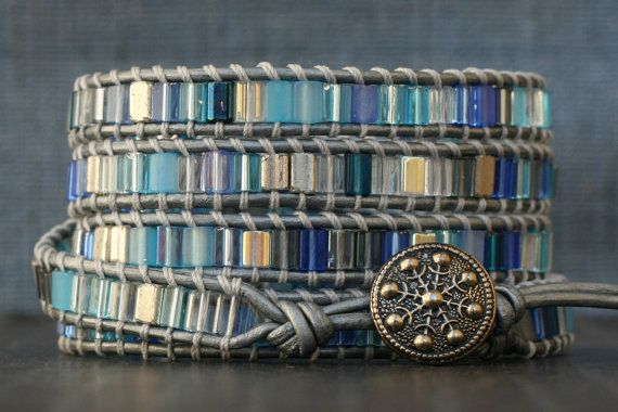 snowflake wrap bracelet blue and silver on silver by CorvusDesign