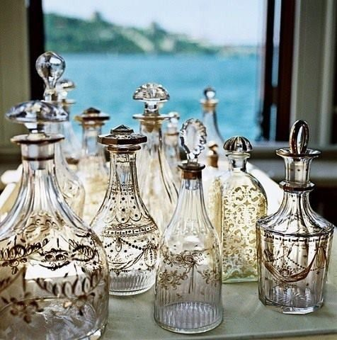 Love these vintage bottles for sparkling water or wine - love this idea for one of our vintage styled weddings in capri