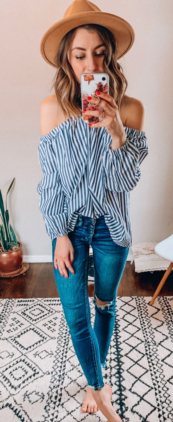 black and white stripe off-shoulder blouse #spring #outfits