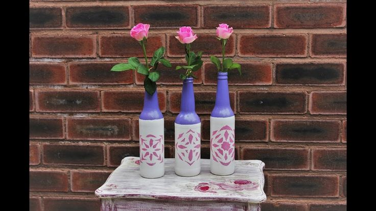 Painted glass bottles - Fast & Easy Tutorial - DIY