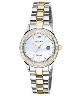 Seiko Watch, Women's Solar Two Tone Stainless Steel Bracelet 28mm SUT074