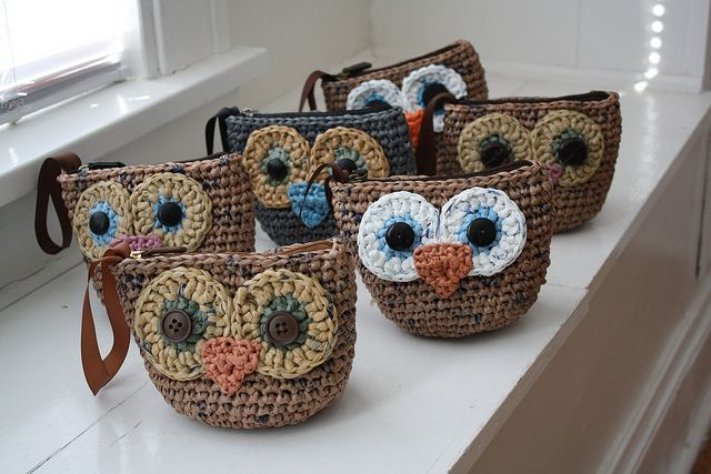Lovely owl wristlets by Emily Lindberg, via Flickr #crochet #recycle (made from plarn) http://zween.wordpress.com/