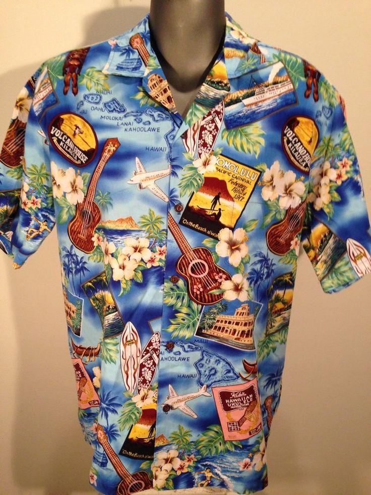 Colorful Hawaiian Shirt Island Wear Blue Surf Volcano Tiki Hawaii Honolulu XL #islandwear #Hawaiian
