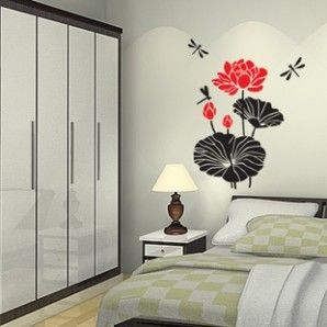 Lotus Leaves Flowers Dragonfly Asian Style Wall Decal & The 10 best Asian Chinese Wall Decals images on Pinterest | Chinese ...
