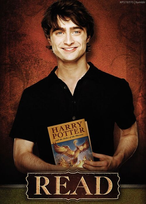 Someone changed the book in the picture to Daniel's favorite Harry Potter book. The original book was 'The Master & Margarita' by Mikhail Bulgakov.