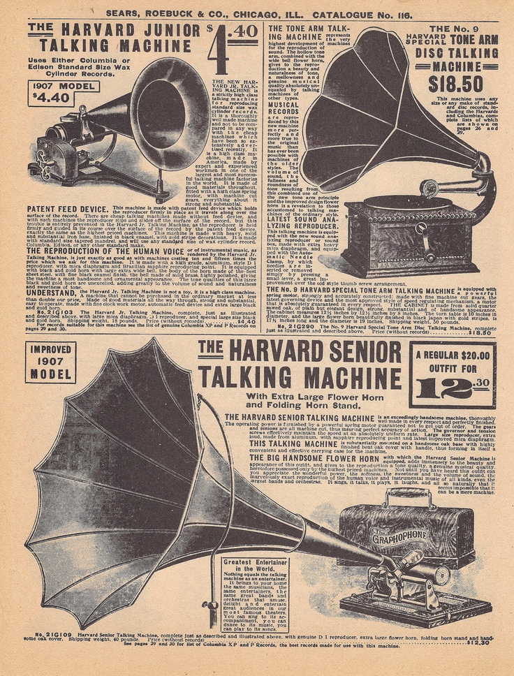 Double Sided Vintage Phonograph Graphophone Music Advertisement- Sears Roebucks Catalog 1905-1910. $1.50, via Etsy.