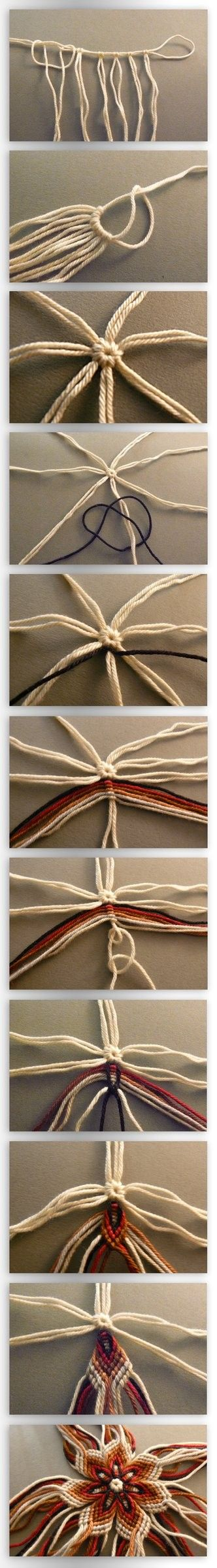 Flower of thread  ~Cool, but I am not sure what the usage would be, so I am thinking this would be great to recycle denim or Tshirts using thick enough strips that you end up with a potholder~